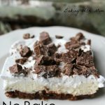 No Bake Candy Bar Cheesecake Squares with chopped candy bar pieces