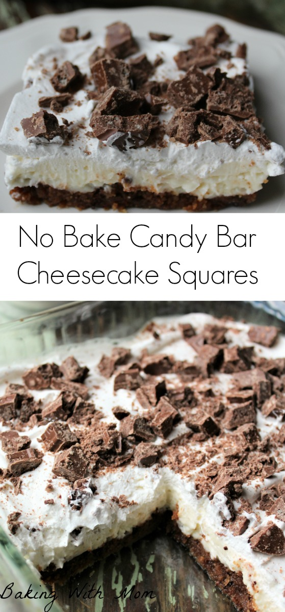 No Bake Candy Bar Cheesecake Squares cream cheese, candy bar pieces and a cookie crust for this rich and delicious dessert