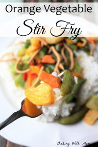 Orange Vegetable Stir Fry with a healthy vegetables and crunchy noodles