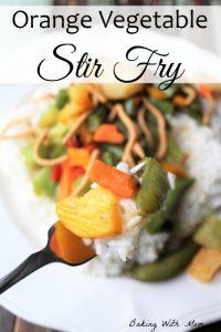 Orange Vegetable Stir Fry with a healthy vegetables and crunchy noodles