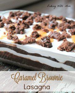 Caramel Brownie Lasagna in a clear baking dish
