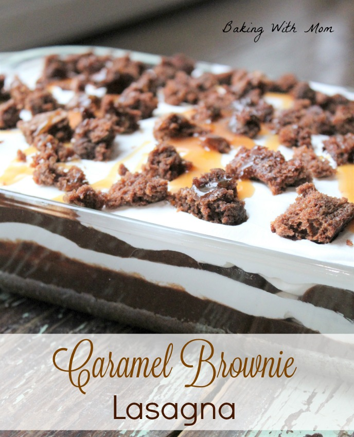 Caramel Brownie Lasagna with layers of whipped cream and chocolate pudding