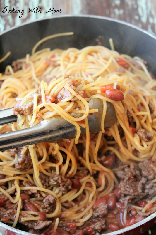 One Dish Chili Noodles a 30 minute easy recipe with hamburger, beans and noodles