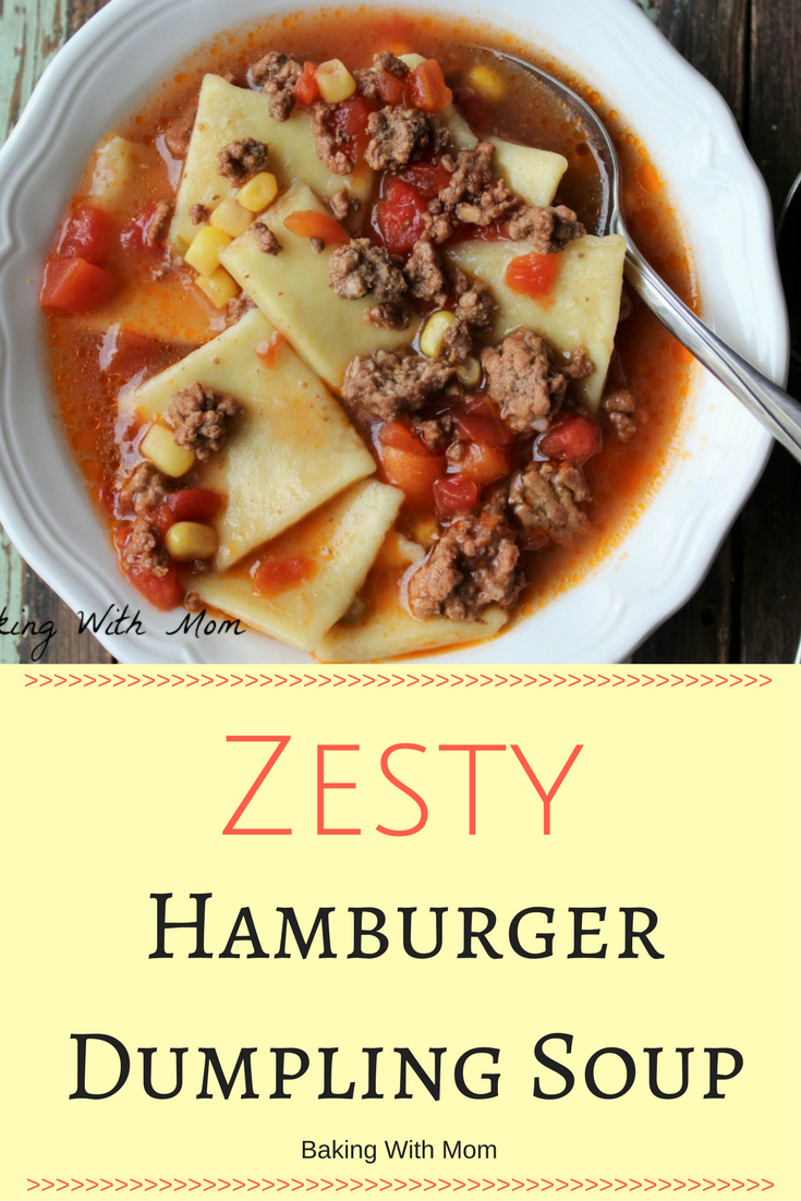 Zesty Dumpling Soup tomatoes, hamburgers, dumplings. Crock Pot soup recipe.