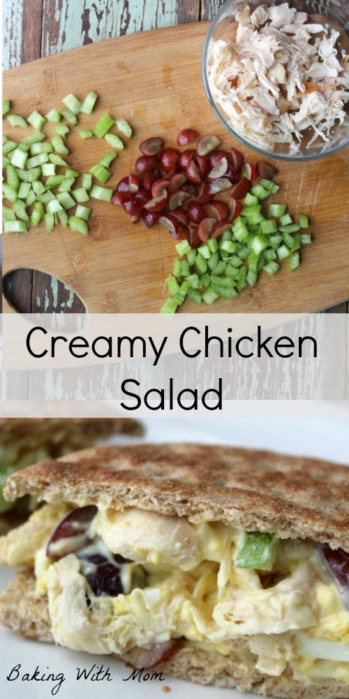 Creamy Chicken Salad with grapes, celery, miracle whip delicious lunch or to serve beside soup