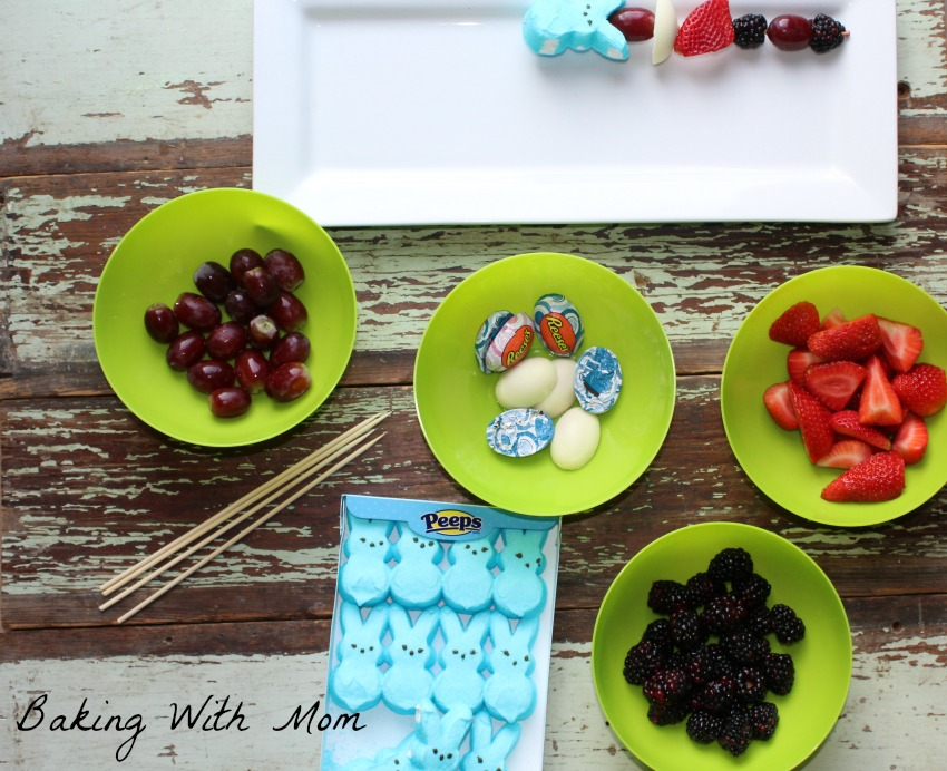 Easter Snack Kabobs ingredients in green bowls
