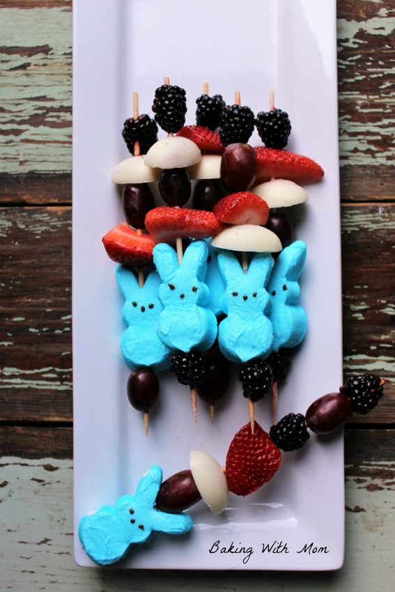 Easter Kabobs Reese's Eggs, Peeps, grapes, strawberries Easter Recipe
