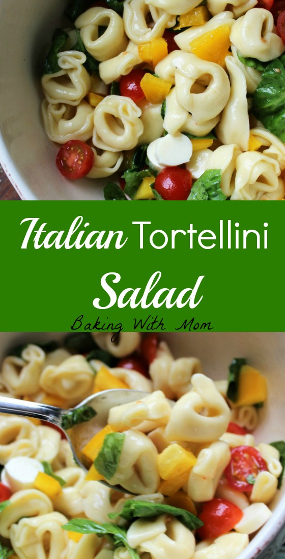 Italian Tortellini Salad with tomatoes, spinach, peppers and Italian Dressing. Great side dish for family gatherings or potlucks