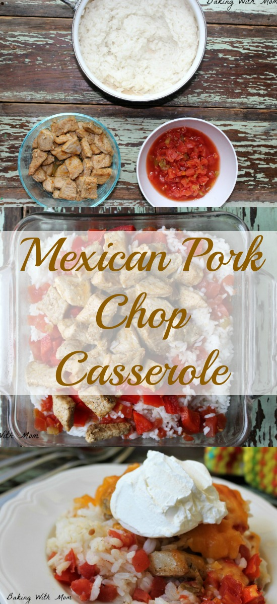 Mexican Pork Chop Casserole #ad #AllNaturalPork easy supper recipe tomatoes, pork, rice, peppers and cheese