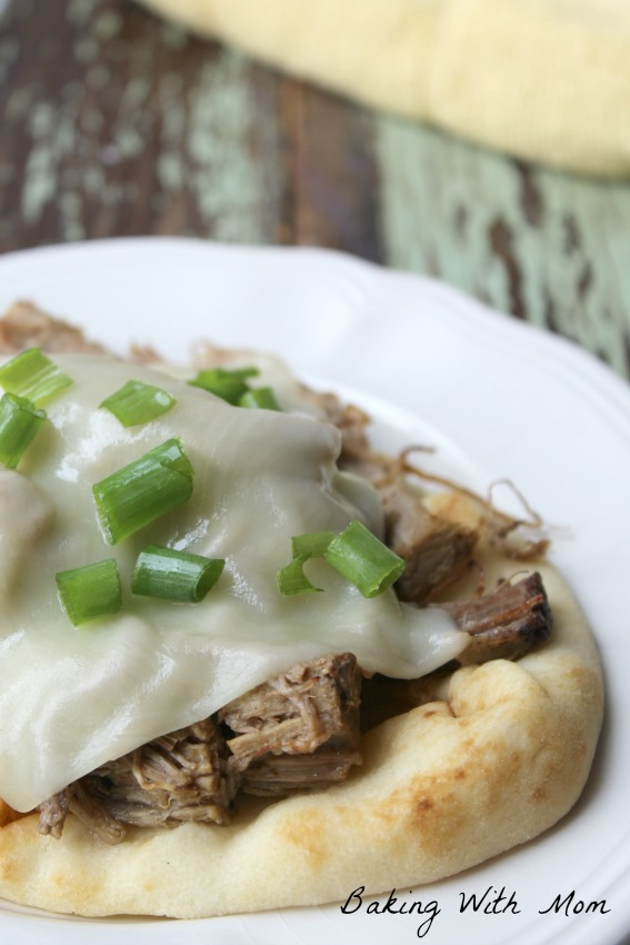 Crock Pot Shredded Roast Beef On Flat Bread