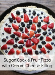 Sugar Cookie Fruit Pizza With strawberries and blueberries on top