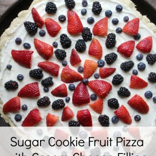 sugar cookie fruit pizza with blackberries and strawberries