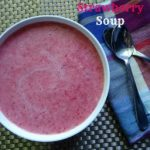 strawberry soup in a white bowl