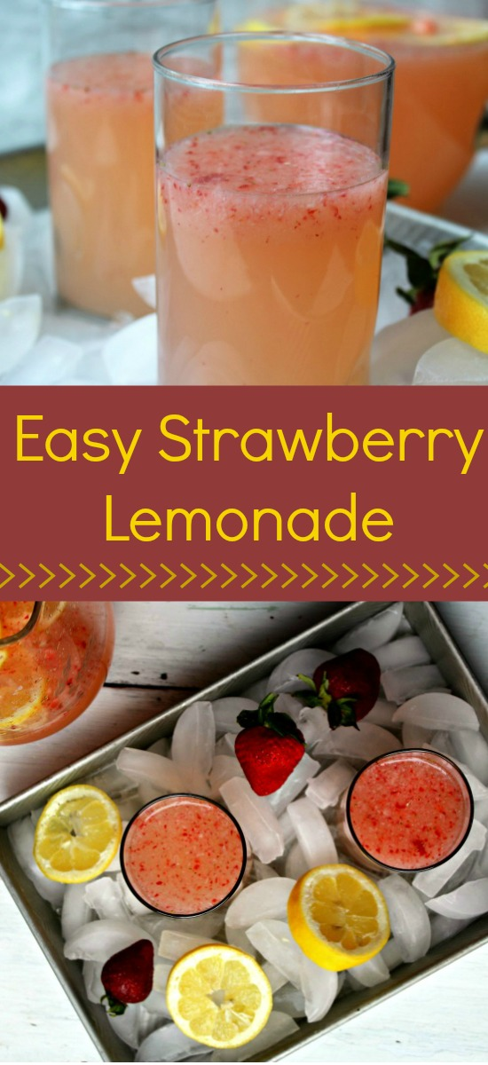 Easy Strawberry Lemonade with only a handful of ingredients. Fresh, homemade and delicious!