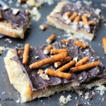 Pretzel Toffee Bars with shortbread crust, layer of toffee and chocolate on top. Dessert recipe easy to make