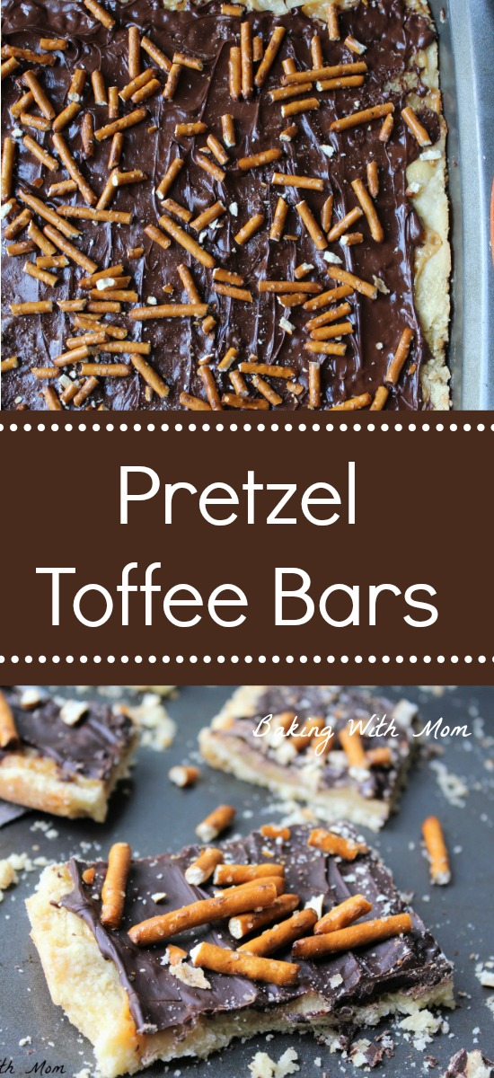 Pretzel Toffee Bars with shortbread crust, cream toffee and chocolate. Topped with pretzels. Salty and sweet dessert