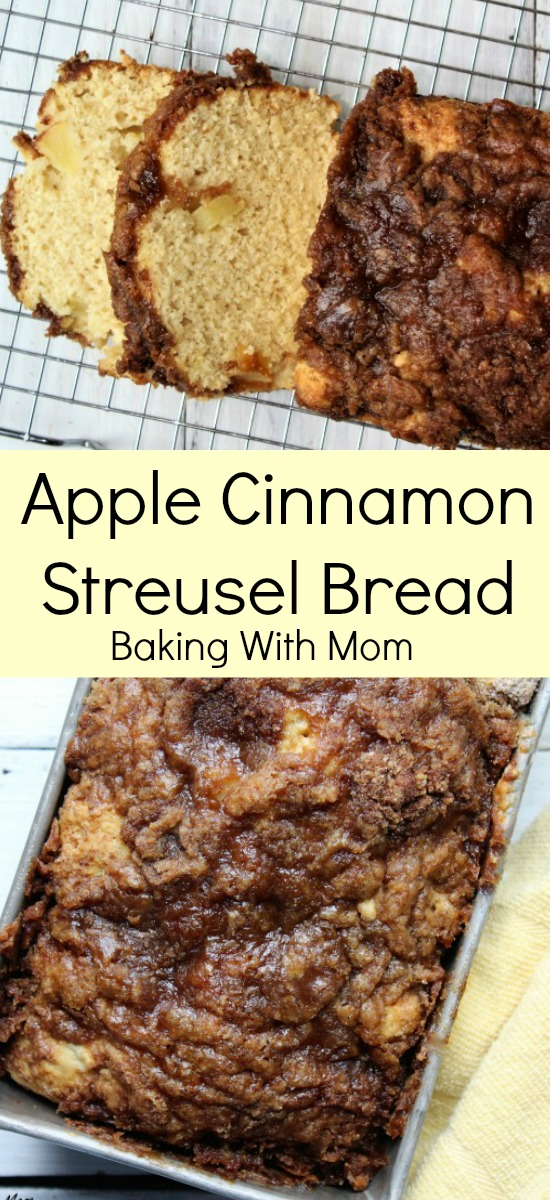 Cinnamon Apple Streusel Bread YUMMY bread soft bread with brown sugar topping. Cinnamon and apples great for snack, breakfast or lunch