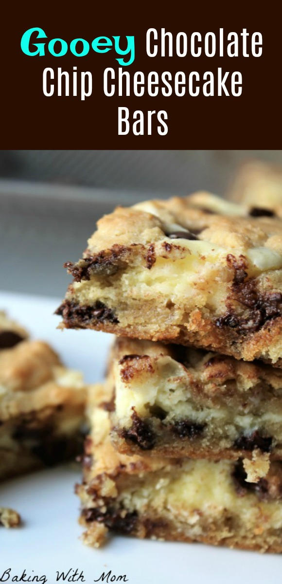 Gooey Chocolate Chip Cheesecake Bars easy dessert recipe with chocolate and cheesecake