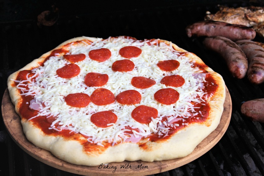 Grilling pizza on a stone