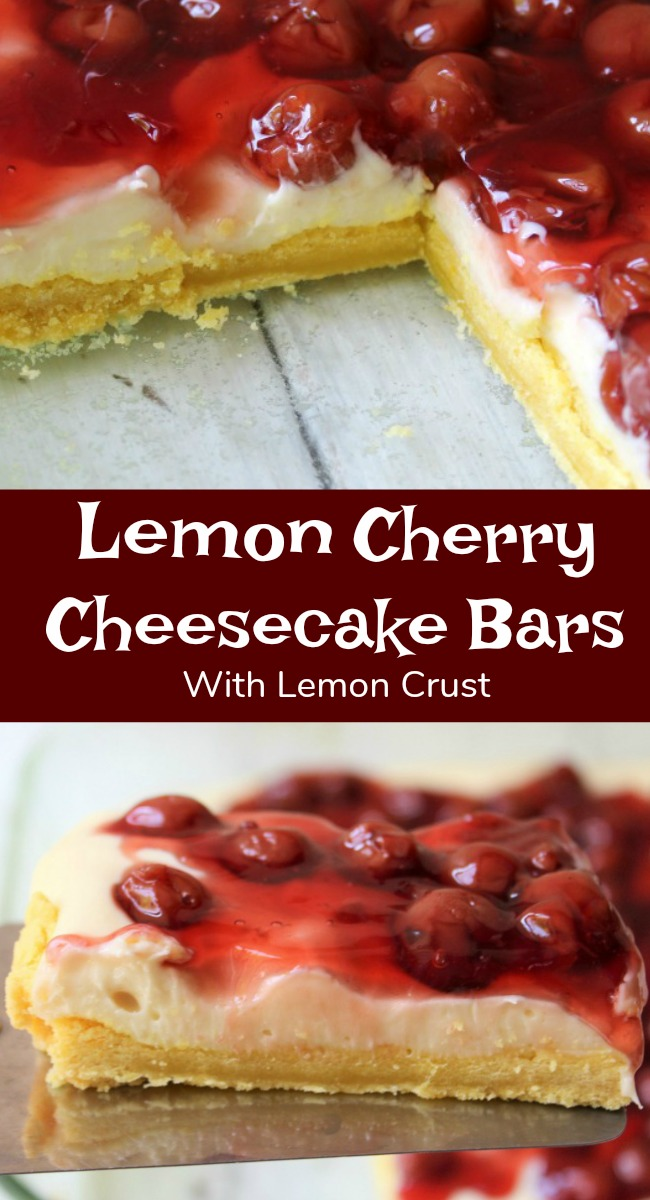 Lemon Cherry Cheesecake with Lemon Crust an easy recipe dessert with cream cheese, lemon cake mix and cherries.