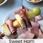 Sweet Ham Kabobs #AskForEckrich #EckrichFlavor #ad Quick grab and go snack for your family with ham, pineapple, cheese and sweet bread.