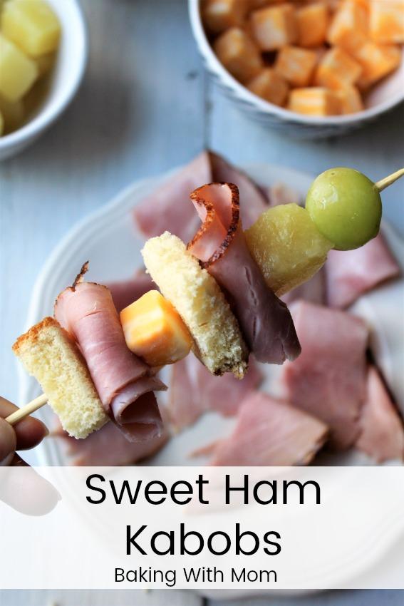 Close up of sweet ham kabobs.