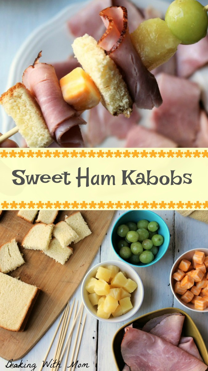grapes, pineapple, cheese, bread and ham for ham kabobs.