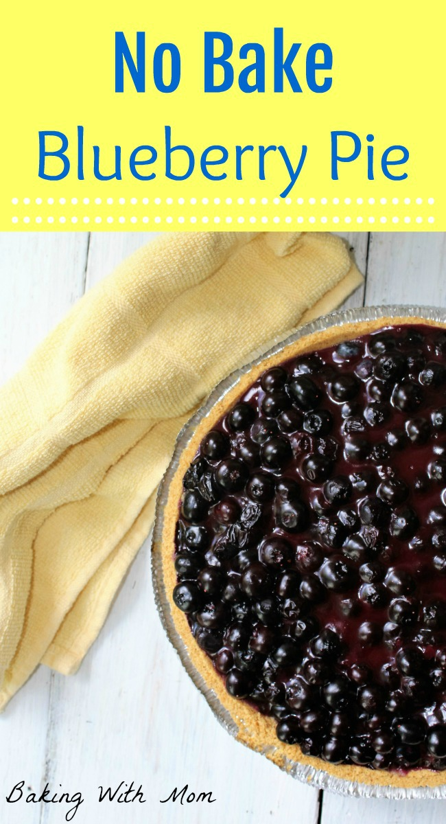 No Bake Blueberry Pie with blueberries, graham cracker crust. No bake and made in minutes-great no bake pie recipe