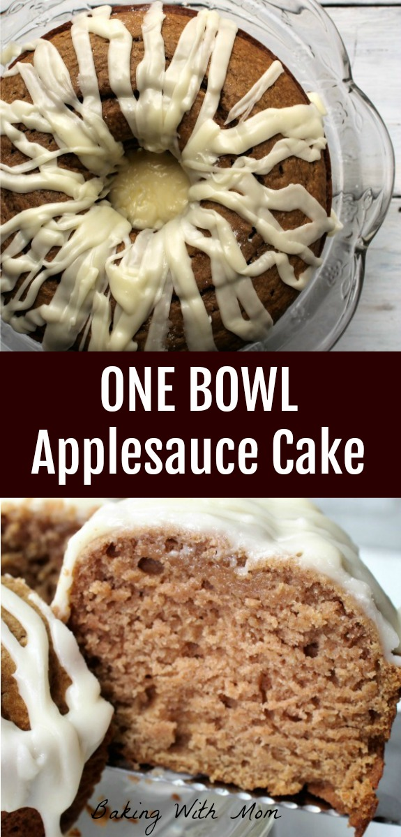 One Bowl Applesauce Raisin Cake with applesauce, cinnamon and lemon frosting. Delicious moist cake recipe. Easy!