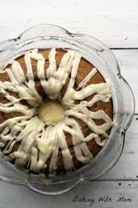applesauce cake on a cake platter
