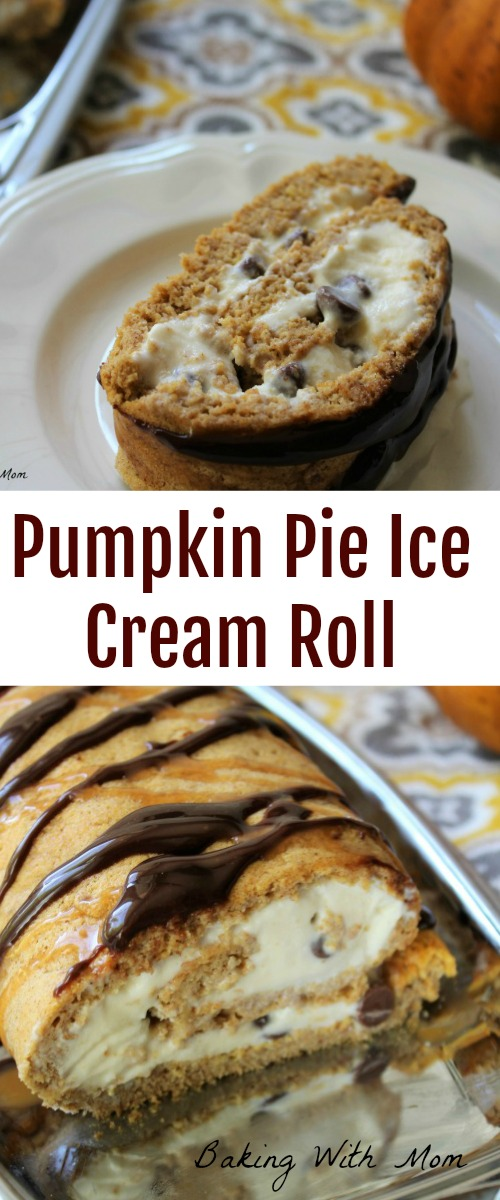 Pumpkin Pie Ice Cream Roll fall dessert with ice cream, pumpkin, cinnamon, caramel and chocolate. Delicious fall recipe