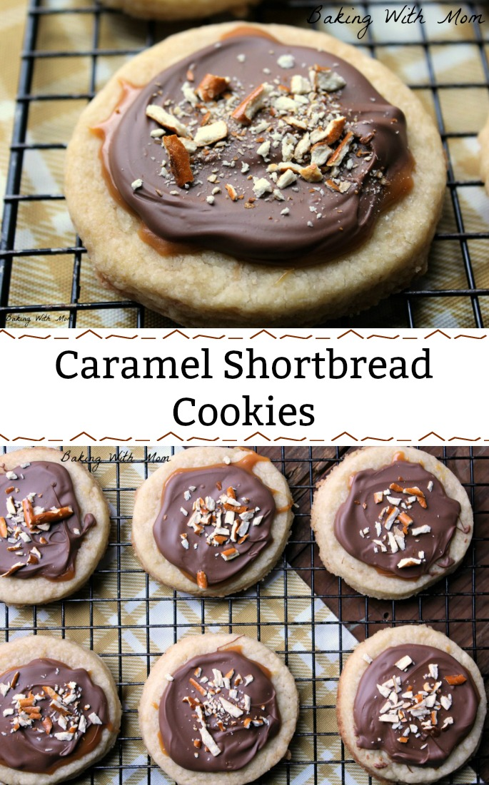 Caramel shortbread cookie collage with cookies on a cooling rack and a cookie on top