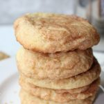 Soft And Chewy Snickerdoodles rolled in cinnamon sugar stacked