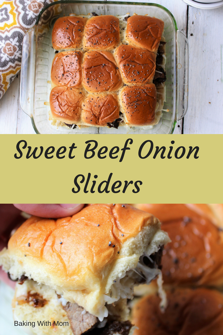 Sweet Beef Onion Sliders with broth, stew meat, onion mix and cheese. Easy meal for parties and guests