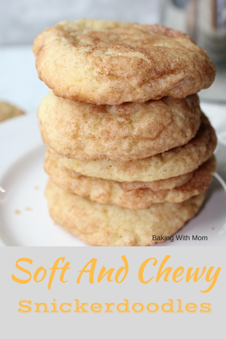 Soft And Chewy Snickerdoodles with cinnamon sugar and soft cookie texture. Great for cookie trays!