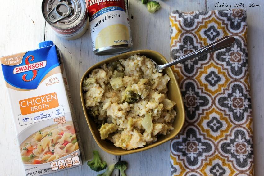 Chicken broth, cream of chicken and broccoli casserole