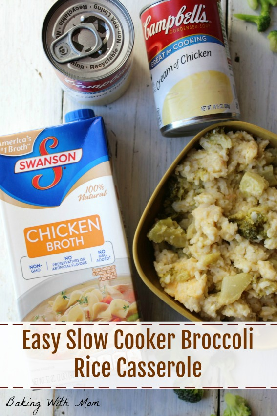 Easy Slow Cooker Broccoli Rice Casserole