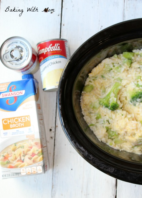 Easy Slow Cooker Broccoli Rice Casserole cooking in crock pot