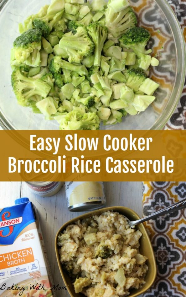 Easy Slow Cooker Broccoli Rice Casserole in a brown bowl