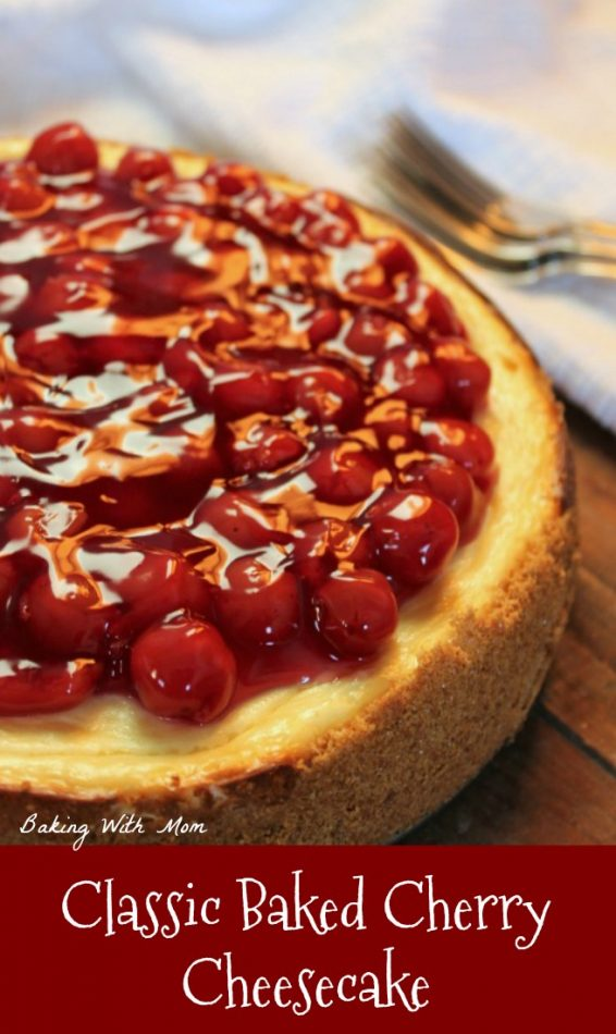 Classic Baked Cherry Cheesecake with cream cheese, graham cracker crumbs, sour cream. Easy recipe with only a handful of ingredients #cheesecake #dessert