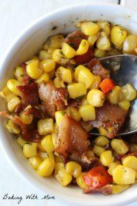 corn, bacon in a white bowl