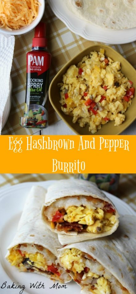 Egg Hashbrown And Pepper Burrito #ad #YouPAMDoIt #PAMInControl a breakfast recipe with peppers, mushrooms and eggs. Delicious to feed your family #breakfast #easyrecipe