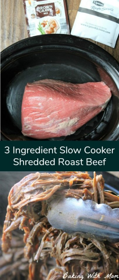 3 Ingredient Slow Cooker Shredded Roast Beef Easy supper recipe cooks in the crock pot. Delicious family recipe #supper #crockpot #slowcooker #easyrecipe #beef