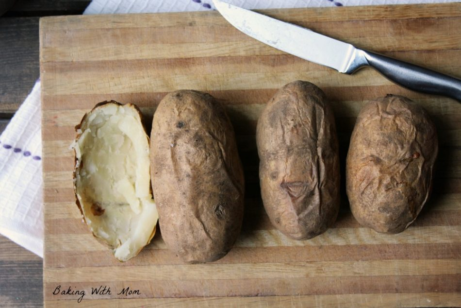Shelled baked potatoes