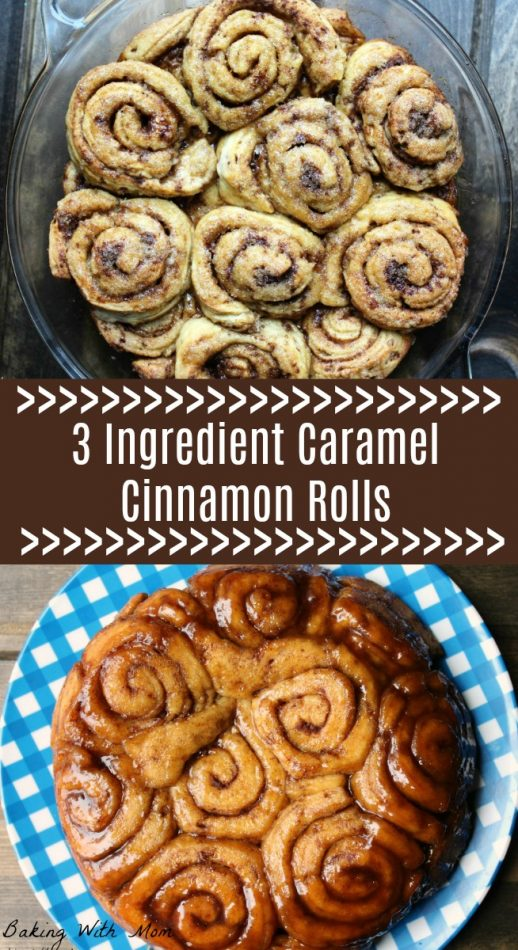 3 Ingredient Caramel Cinnamon Rolls Easy breakfast recipe with cinnamon and brown sugar #breakfast #cinnamonrolls #brunch