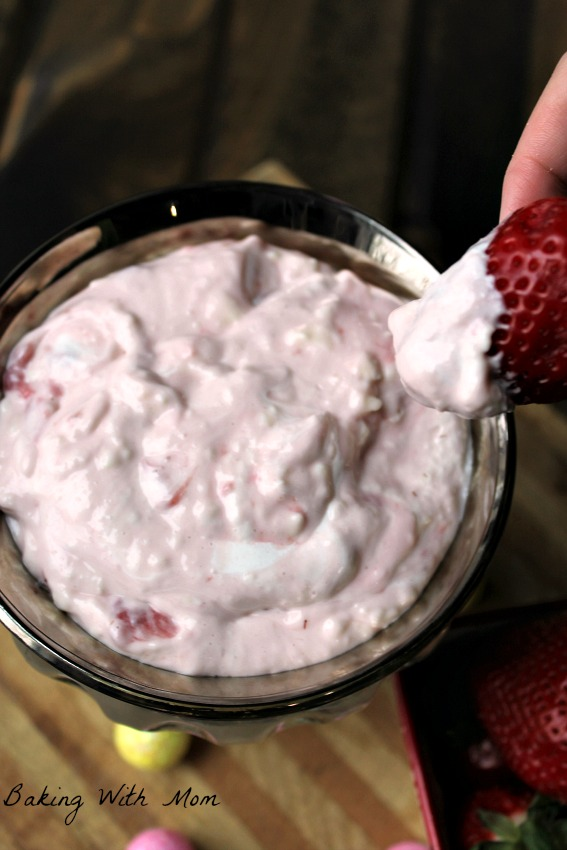 Strawberry puree mixed with marshmallow fluff and cream cheese