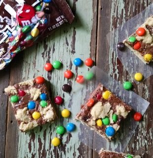 M&M Shortbread Cookies with chocolate swirled throughout a shortbread crust