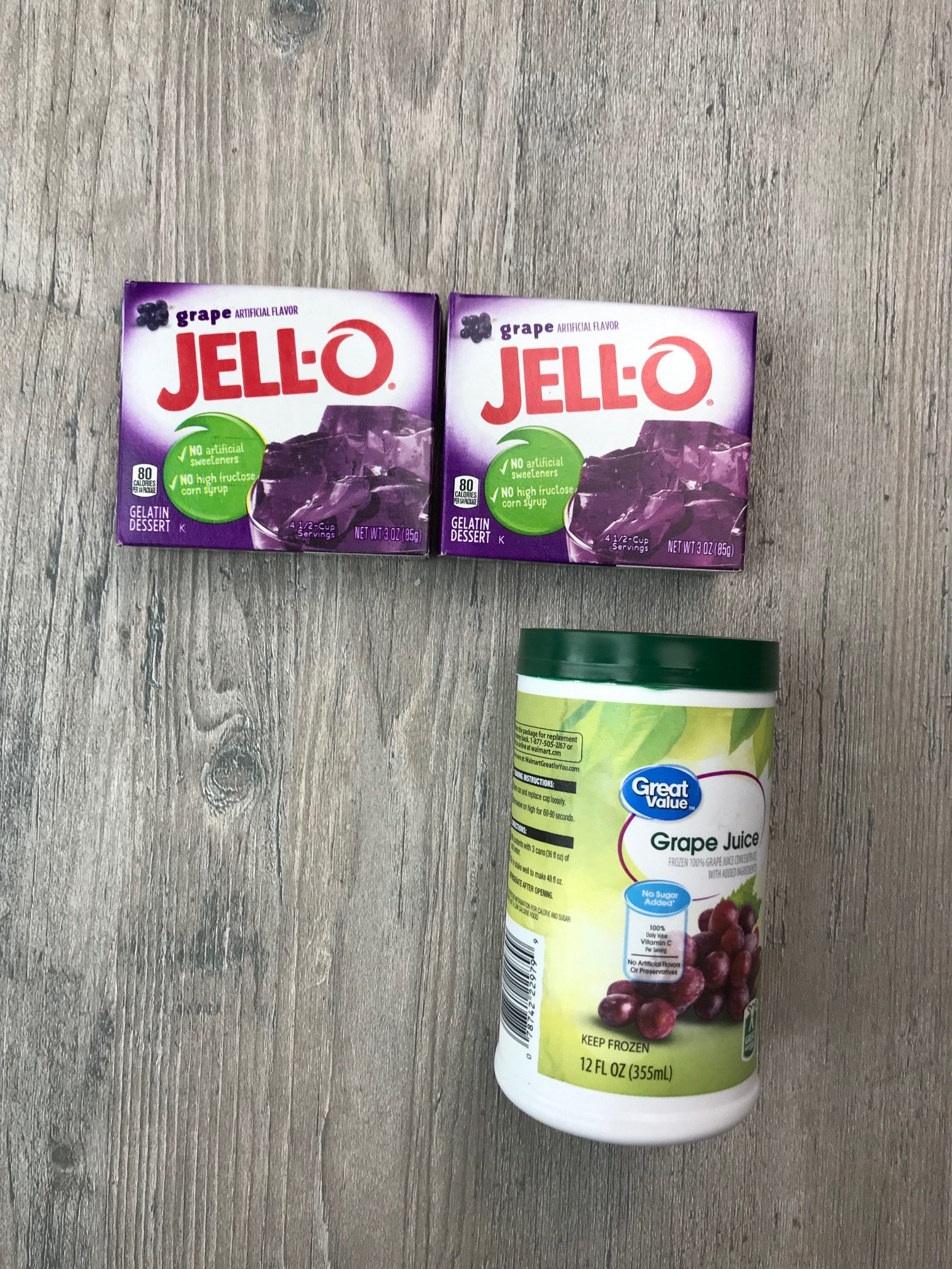 Grape jello and can of grape juice concentrate