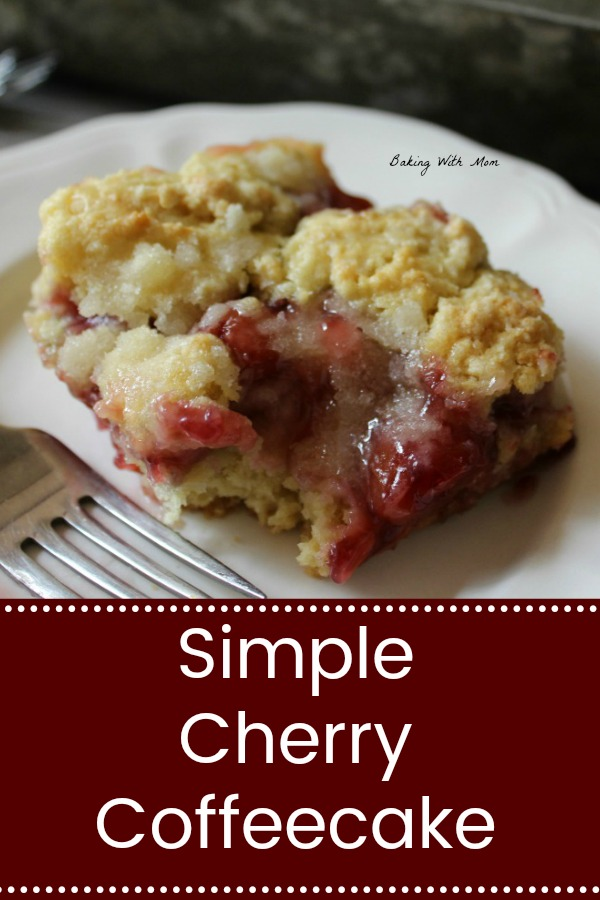 Simple Cherry Coffee Cake with a bite taken out on a white plate