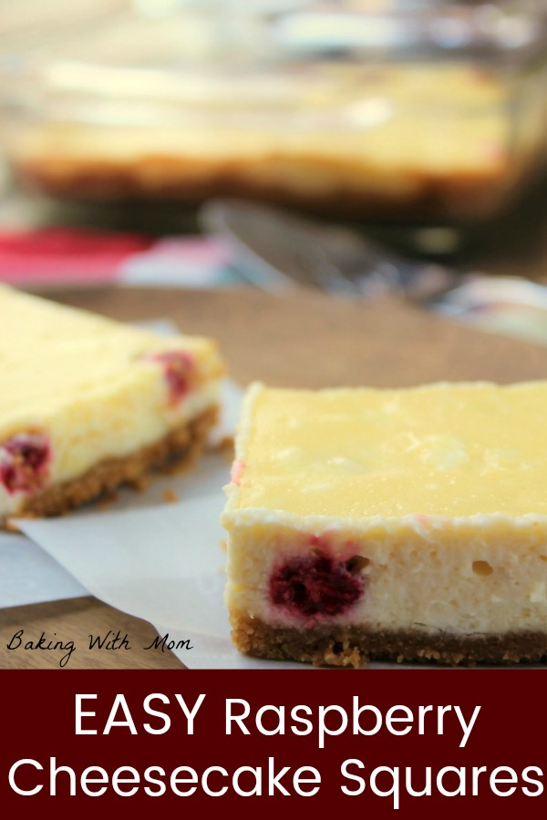 Easy Raspberry Cheesecake Squares with cream cheese and a graham cracker crust. Rich, creamy and sweet, this cheesecake dessert is a favorite. #dessert #cheesecake #raspberry